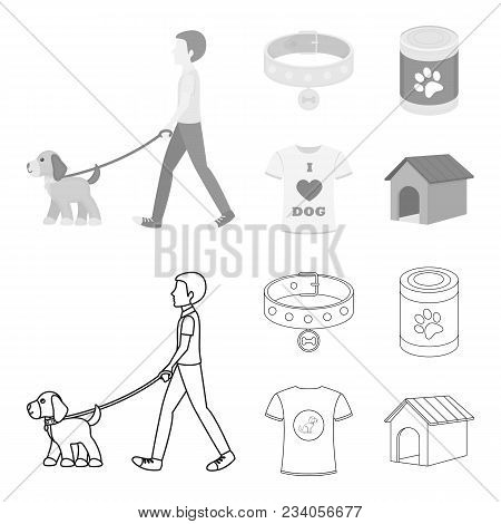 A Man Walks With A Dog, A Collar With A Medal, Food, A T-shirt I Love Dog.dog Set Collection Icons I