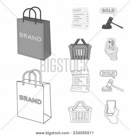 Bag And Paper, Check, Calculation And Other Equipment. E Commerce Set Collection Icons In Outline, M