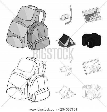 Travel, Vacation, Backpack, Luggage .family Holiday Set Collection Icons In Outline, Monochrome Styl