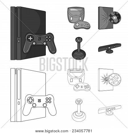 Game Console, Joystick And Disc Outline, Monochrome Icons In Set Collection For Design.game Gadgets