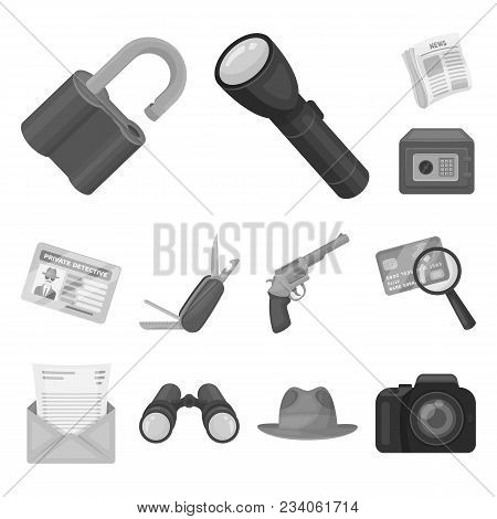 Detective And Attributes Monochrome Icons In Set Collection For Design.detective Agency Vector Symbo