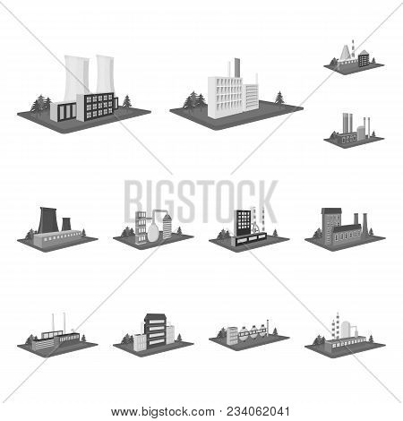 Factory And Plant Monochrome Icons In Set Collection For Design. Production And Enterprise Vector Is
