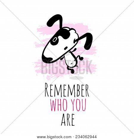 Hand Drawn Cartoon Dog Jumping Character. Cute Doodle Sketch Puppy. Philosophical Phrase, Metaphor.