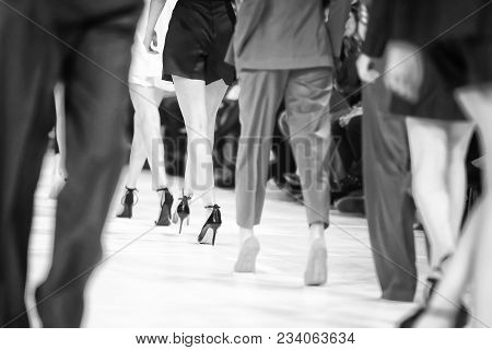 Fashion Show, Catwalk Runway Show Event. Detail Of Lined Up Rear View Fashion Models Legs With High