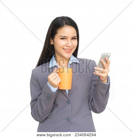 Portrait Of Business Woman With Cup Of Drinking Water ,tea Or Coffee And Talking  Smartphone Isolate