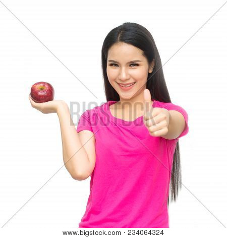 Portrait Of Lovely Young Woman Holding A Fresh Ripe Apple  And Smiling Isolated On White Background.