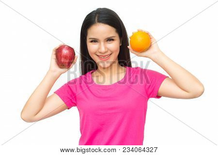 Health Girl Show Red Apple And Orange With Smile Face Isolated On White Background, Healthy Eating F
