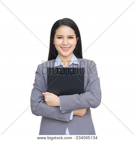 Young Businesswoman Hold With Clipboard Isolated On White Background. With Clipping Path