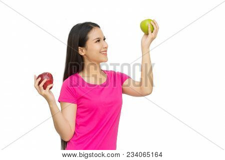 Health Girl Show Red And Green Apple With Smile Face Isolated On White Background, Healthy Eating Fo