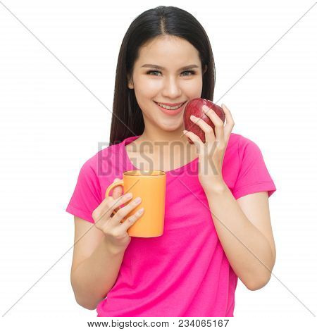 Portrait Of Asian Young Woman With Cup Of Drinking Water ,tea Or Coffee And One Hand Holding Red App