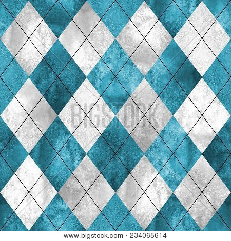 Argyle Seamless Plaid Pattern. Watercolor Hand Drawn Gray Blue Teal Texture Background. Watercolour