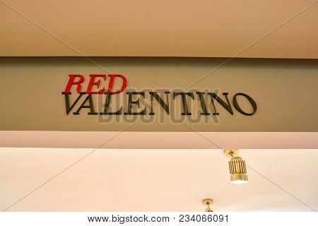 MILAN, ITALY - CIRCA NOVEMBER, 2017: RED Valentino sing at Rinascente. Rinascente is a collection of high-end stores.