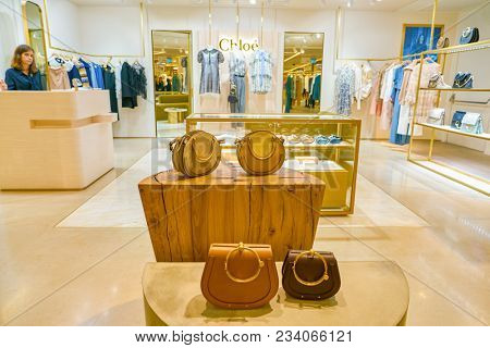 MILAN, ITALY - CIRCA NOVEMBER, 2017: bag on display at Rinascente shopping center in Milan. Rinascente is a collection of high-end stores.