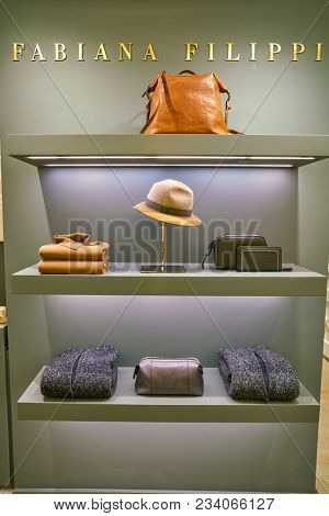 MILAN, ITALY - CIRCA NOVEMBER, 2017: Fabiana Filippi clothing on display at Rinascente shopping center in Milan. Rinascente is a collection of high-end stores.