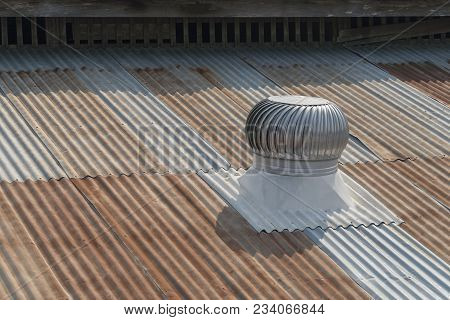 Ventilation On The Old Zinc Roof On Daylight.