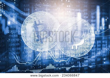 Modern Way Of Exchange And Bitcoin Is Convenient Payment In Global Economy Market. Virtual Digital C