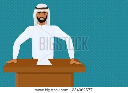 Arab Business Man Or Politician Leading Speech On Conference Or Meeting Presentation Standing At Tri