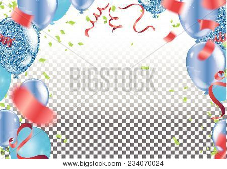 Party Decoration. Air Balloons, Confetti And Serpentine On White Background. Carnival Lettering. Pla