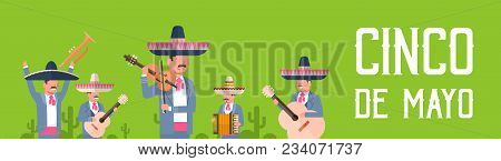 Group Of Mexican Musicians In Traditional Clothes With Sombrero And Maracas Cinco De Mayo Festival P