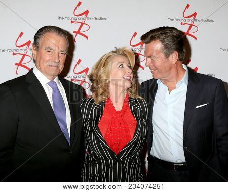 LOS ANGELES - MAR 26:  Eric Braeden, Melody Thomas Scott, Peter Bergman at the The Young and The Restless Celebrate 45th Anniversary at CBS Television City on March 26, 2018 in Los Angeles, CA