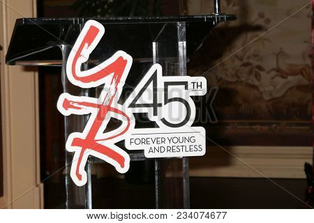 LOS ANGELES - MAR 26:  YnR 45th Anniversary Signage at the The Young and The Restless Celebrate 45th Anniversary at CBS Television City on March 26, 2018 in Los Angeles, CA