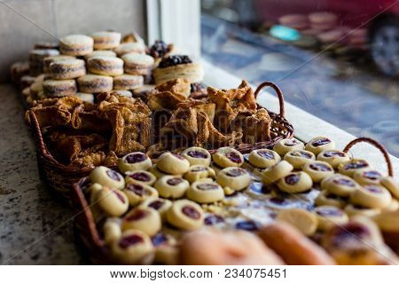 Typical Argentinean Snacks And Treats On Shop Window In Ushuaia, Blurred, Shallow Depth Of Field. Us