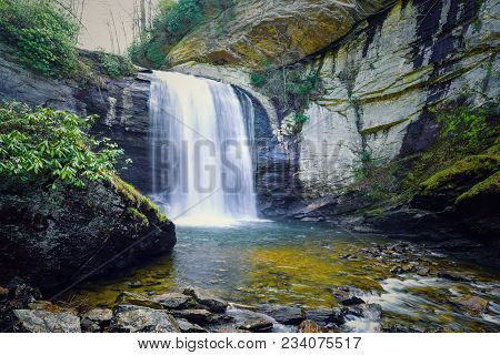 A natural close-up view of Looking Glass Falls in Ashville, North Carolina.