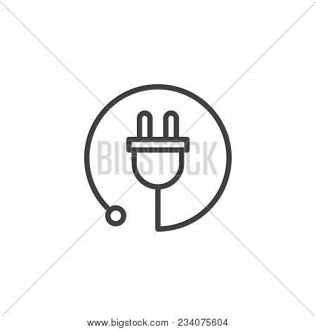 Electric Plug Outline Icon. Linear Style Sign For Mobile Concept And Web Design. Power Cord Simple L