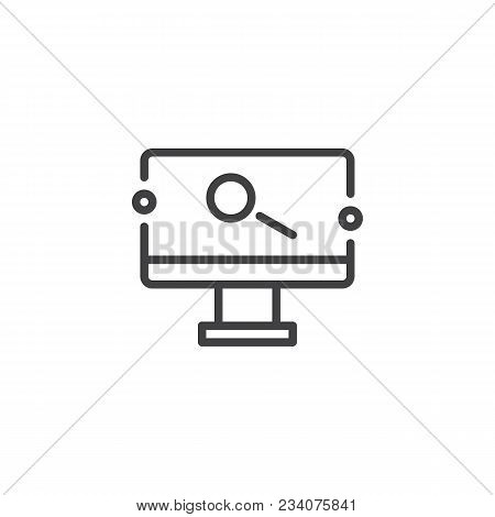 Monitor With Magnifying Glass On Screen Outline Icon. Linear Style Sign For Mobile Concept And Web D