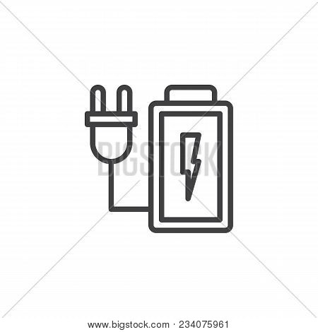 Charging Battery Outline Icon. Linear Style Sign For Mobile Concept And Web Design. Battery With Ele