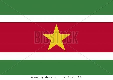 Flag Of Suriname Official Colors And Proportions, Vector Image