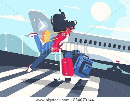 Girl Carrying Baggage On Trolleys For Flight. Air Transportation Service. Vector Illustration