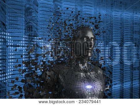 Digital composite of Digitally generated image of 3d human