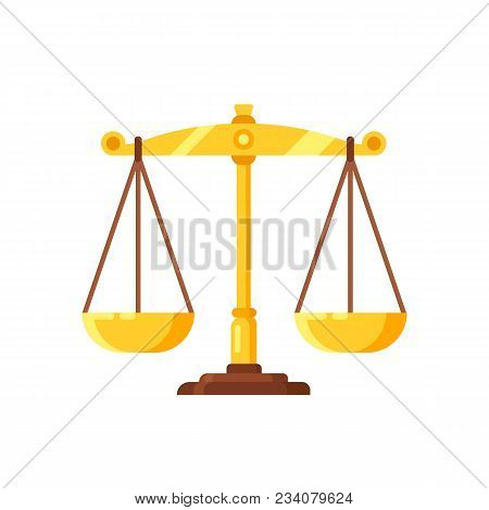 Beautiful Golden Scales, Mechanical Device For Measuring The Weight And Mass Of Products. Concept Of