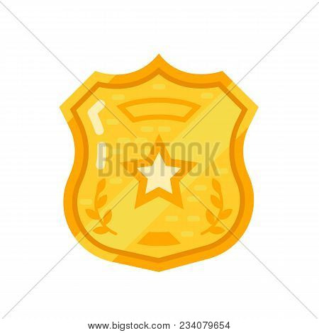 Gold Warrant, Police Badge, Sheriff Star. Oncept Of Order, Observance Of Law, Protection And Justice