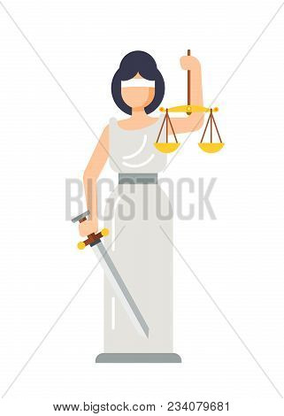 Statue Of Ancient Goddess Of Justice Lady Themis. Woman Themis With Sword In Hand And Scales Of Just