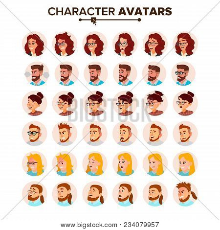 Business People Avatars Set Vector. Man, Woman. Face, Emotions. Default People Character Avatar Plac