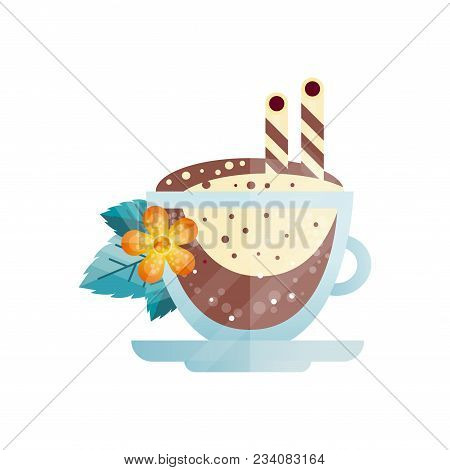 Creative Illustration Of Delicious Coffee Drink With Drinking Straws, Orange Flower And Green Leaves