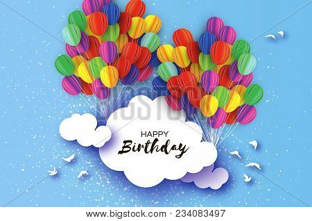 Flying Paper Cut Balloons In Paper Cut Style. Colorful Decoration For Party, Celebration, Banner, Ca