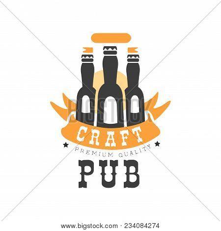 Original Logo Design With Three Black Bottles Of Beer And Orange Ribbon. Alcoholic Beverage Theme. G