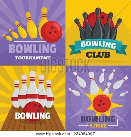 Bowling Kegling Banner Concept Set. Flat Illustration Of 4 Bowling Kegling Vector Banner Horizontal