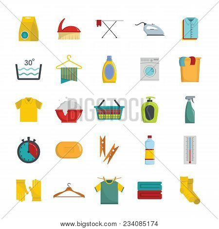 Laundry Service Icons Set. Flat Illustration Of 25 Laundry Service Vector Icons For Web