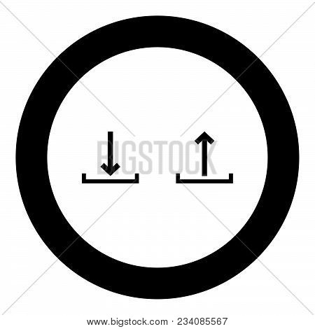 Sign Upload And Download Black Icon In Circle Vector Illustration Isolated