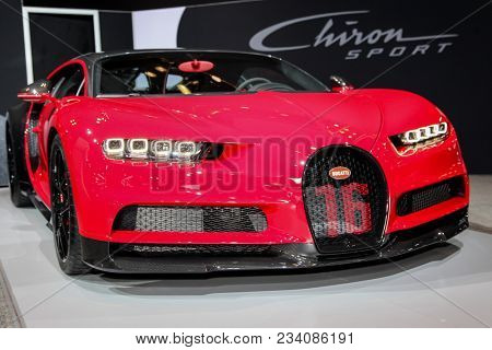 NEW YORK CITY-MARCH 28: Bugatti Chiron Sport shown at the New York International Auto Show 2018, at the Jacob Javits Center. This was Press Preview Day One of NYIAS, on March 28, 2018.