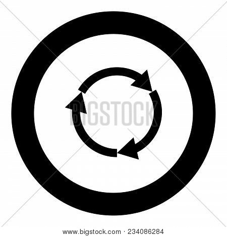 Three Circle Arrows Black Icon In Circle Vector Illustration Isolated