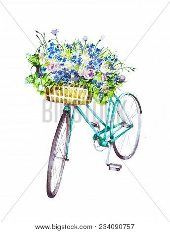 Bicycle and basket with flowers watercolor on white background. Basket with colorful flowers. Summer landscape. Bicycle print for clothes on white background. Flowers in watercolor. Watercolor illustration bike with flowers. Hand drawn watercolor