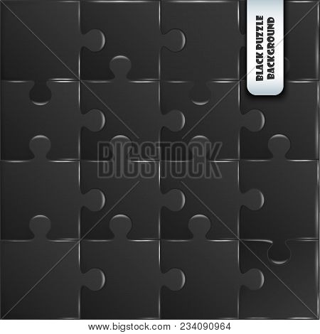 Black Plastic Pieces Puzzle Game Complete Background