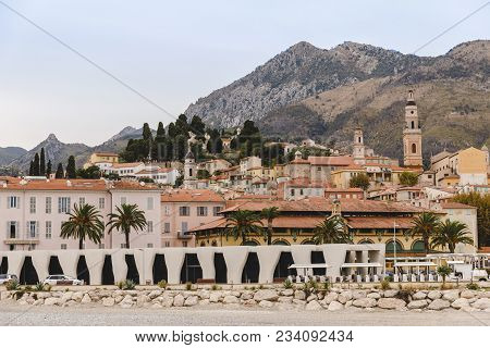 Menton, France - 17 September 2017: Building On Coast Of Small Town At France, Menton, France