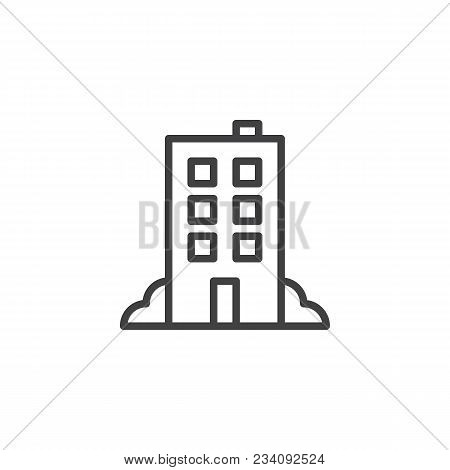 Hotel Building Outline Icon. Linear Style Sign For Mobile Concept And Web Design. Office Building Si