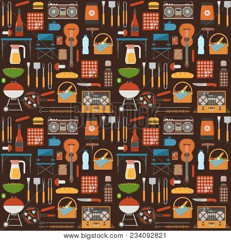Summer Picnic Pattern With Bbq Elements And Grilling Tools. Barbecue Seamless Background With Grill